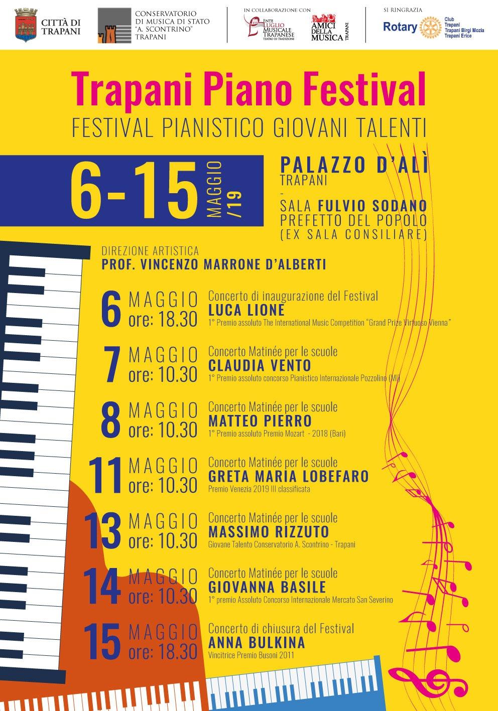 Trapani Piano Festival - Locandina riportante il programma della manifestazione